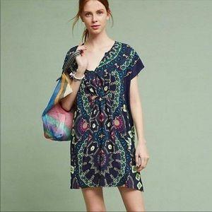 Maeve Medallion silk dress size Large EUC
